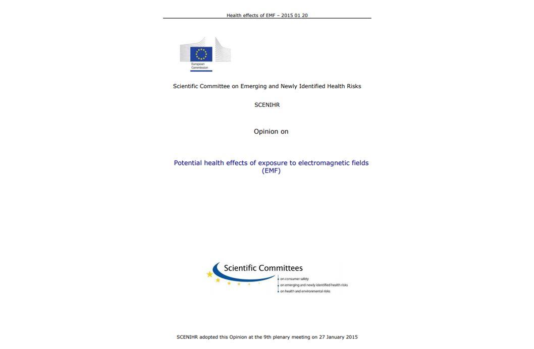 EU KOMMISSION: OPINION der SCENIHR, 2015