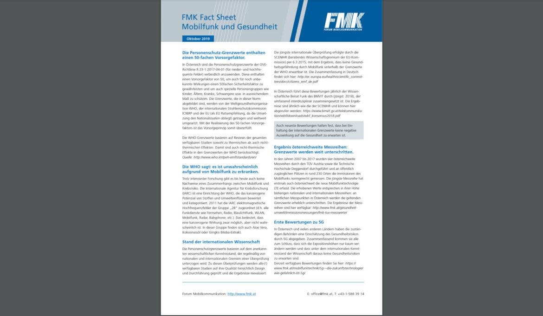 FMK Fact Sheet: Mobilfunk und Gesundheit